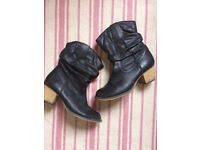 Black leather cowboy style boots. Size 4