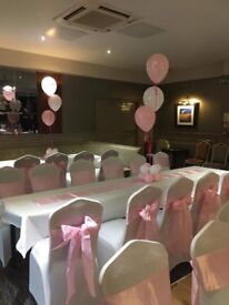 Chair covers 50 p hire bows sashes 49 p hire set up free weddings communions birthdays ect stunning