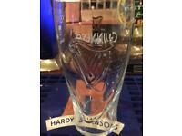 Guinness embossed stamped pint glasses