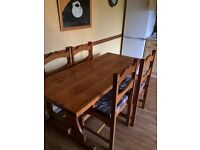 Solid Pine Kitchen Table and 4 Chairs