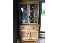 Antique pine dresser with glazed doors