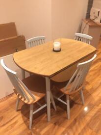 Upcycled vintage drop leaf dining table and chairs