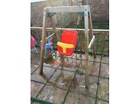 Wooden baby/ toddler swing for the garden