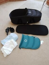 Bugaboo bee3 carry cot with adapters for pram and 2 fitted sheets and extra apron