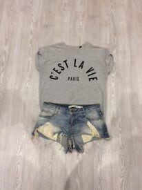 Topshop t-shirt and Zara shorts
