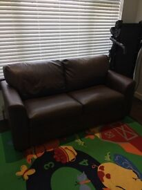 Brown faux leather 2 seater sofa bed