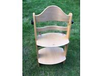 Woden high chair, suitable for 2-10 year olds, adjusts for hight- used, but v good