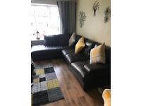 Brown leather corner suite and chair 350 pounds or nearest offer Needs gone asap