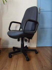 office swivel height adjustable high-back chair color blue