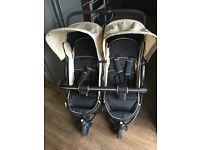 Hauck Roadster Duo Double Buggy-Caviar/Almond