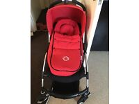 Bugaboo bee plus in red hood and matching cocoon £250