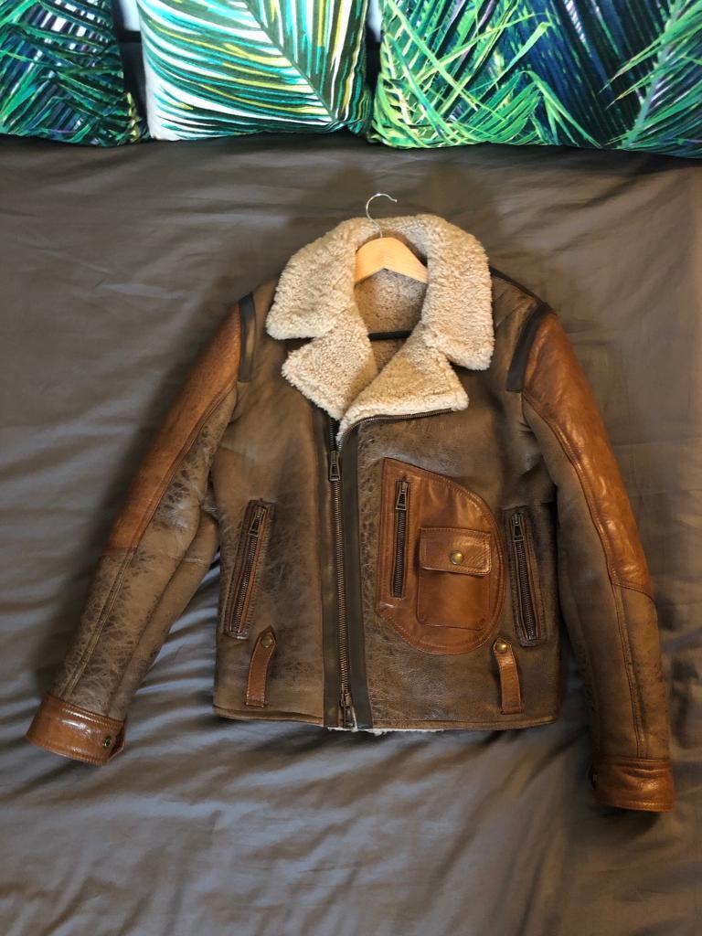 07d9c3bf3c8 Belstaff Shearling Leather Jacket Danescroft Limited Edition 48 (Medium)