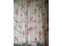 Dunelm Mill 'Birds' curtains duck egg blue & pink , pencil plea at, great cond. With tie backs .