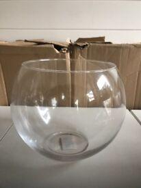 20cm Glass Fish Bowl Vases x 6 Brand New
