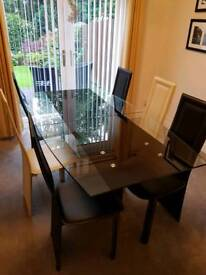 Black and Clear Glass Extending Dining Table with Black and Clear Display Cabinet