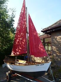 Traditional 15ft Oughtred design sailing dinghy with trolley & trailer