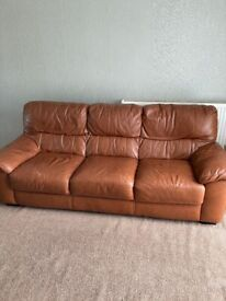 REDUCED BROWN LEATHER Three Seater Sofa MUST GO TODAY £130