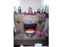 Electric standalone fire and marble hearth (Can be sold separately)