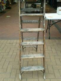 Vintage early wooden ladders chain lockable