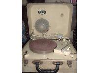 original 1950s Philips disc jockey MAJOR portable record player and black record box