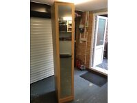 Single beech coloured wardrobe with mirror door
