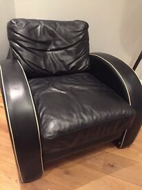 Vintage Art Deco Leather Armchair