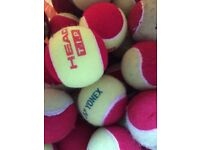 Red and yellow tennis balls