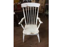 Armchair - Storytellers Carver Style - White Hand painted Wooden Shabby Chic