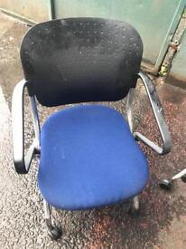 Black Blue Meeting Chairs On Wheels