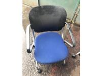 Black Blue Meeting Chairs On Wheels