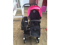 Pink Bugaboo Donkey twin seats, carrycot, car seat adaptor buggy board.