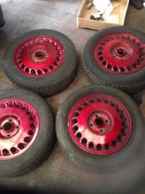 Vauxhall Ronal alloys in candy apple red with new tyres