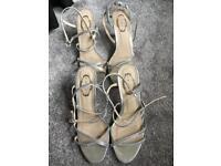 2 pairs (37 & 38) silver diamanté shoes