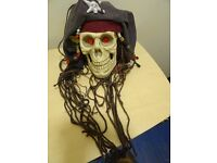HANGING PIRATE SKULL - PARTY DECORATION OR PIRATE COLLECTABLE