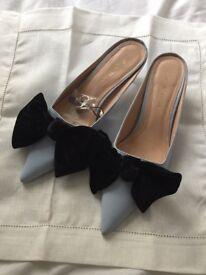 ZARA brand new kitten heels mules with velvet bow size 4