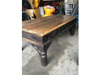 Old wooden coffee table - rustic vintage