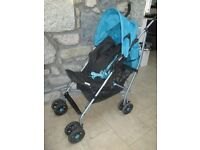 Mamas and Papas Folding Pram, used at Grandparents House, includes black cosy toes, £10.
