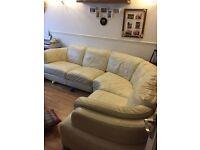 White Leather Corner Sofa & Storage footstool