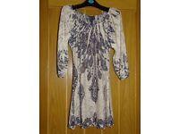 IZABEL London Size 10 short dress (navy/light cream/grey etc)