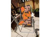 COOL Vintage ORANGE BROWN FLOWERS Camping Campervan Folding Chair VW Festival Mid Century Design