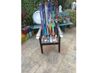 **REDUCED** NEWLY MADE UNIQUE 1 OFF BESPOKE GARDEN/MAN CAVE RECYCLED SNOW SKI ARM CHAIR,