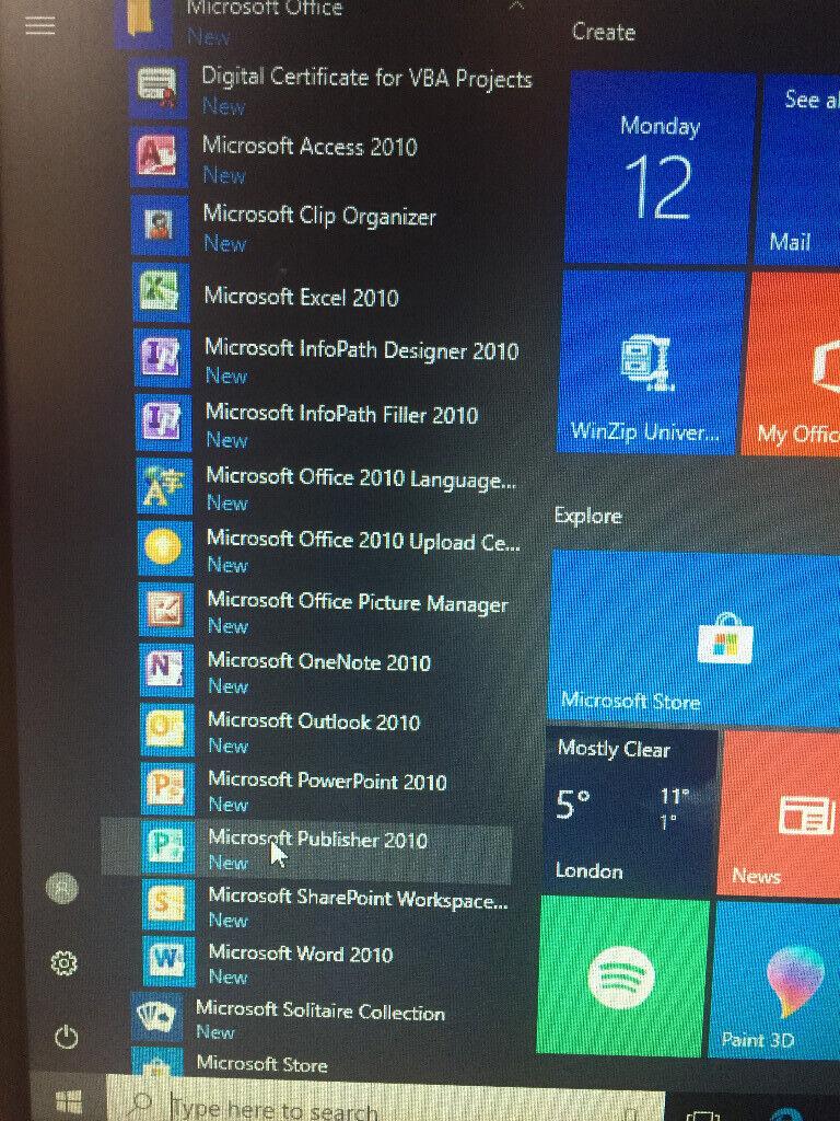 using microsoft office 2010 on windows 10