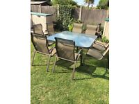 Patio Smoked Glass Table and 8 Chairs