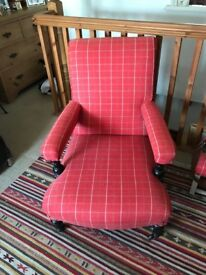Arm chair, Victorian. Reupholstered and recovered.
