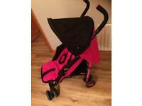 Chicco Echo Stroller, rarely used. Excellent condition. Pink & black