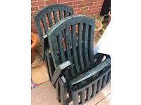 2x reclining garden chairs