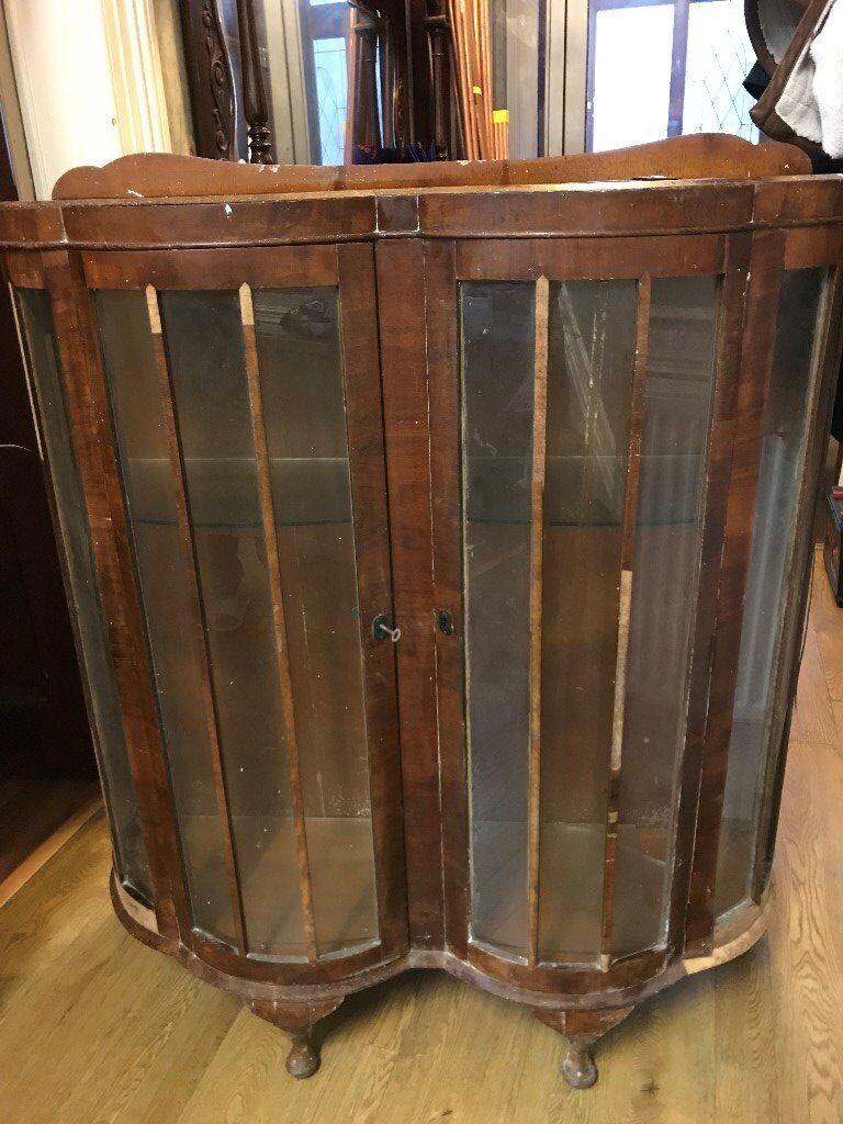 Antique Pine Display Cabinet - Requires Restoration - Antique Pine Display Cabinet - Requires Restoration In