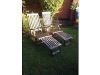2x matching hardwood loungers for the garden