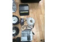 Alpine car amp, sub, speakers, wires Sony mini disc