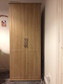 Light Oak Effect Two Door Wardrobe